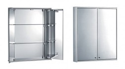 Whitehaus WHFUT-27 Double Door Anodized Aluminum Cabinet With Two Double Faced Mirrors  Two Adjustable Glass Shelves And Mirror Back Wall