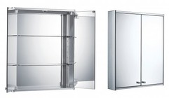 Whitehaus WHCAR-42 Double Two Sided Mirrored Door Medicine Cabinet With Two Adjustable Glass Shelves And Mirror Faced Back Wall.