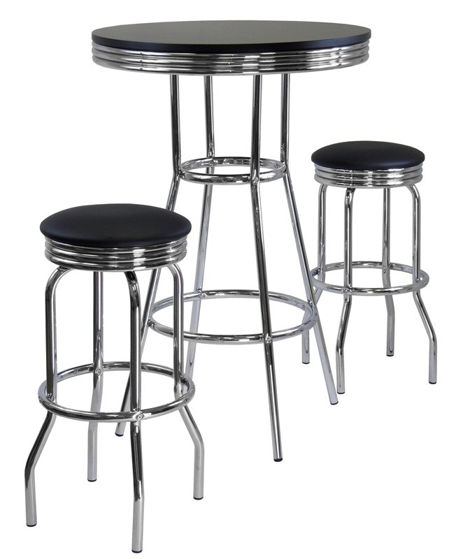 Pub Sets Cheap: Winsome Wood Summit Black 3 Piece Pub Table Set