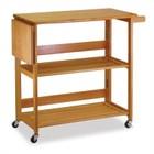 Winsome Foldable Butcher Block Kitchen Cart in Light Oak
