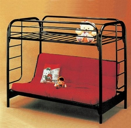 Yuan Tai 8986r Twin Over Full Metal Convertible Futon Bunk Bed In Red