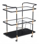 "Zuo 100191 Secret 33"" Serving Cart with Locking Casters  3 Tempered Glass Shelves and Metal Frame in Black and Gold Finish"