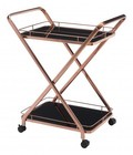"Zuo 100370 Vesuvius 35"" Serving Carts with Locking Casters  Slim Profile  and Two Shelves in Rose Gold"